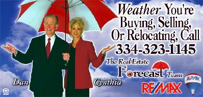REForecastTeam Dan and Cynthia Atkinson at REMAX of Montgomery Alabama - Buy or sell your home and dont get soaked, Weather the storm under the REForecastTeam Umbrella when buying a home or selling real estate in the Montgomery Alabama area
